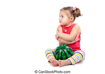 little cheerful girl with a ball