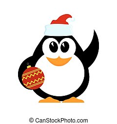 Little cheerful penguin with Christmas ball in hat of Santa Claus with a raised hand. Cartoon