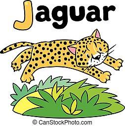 Little cheetah or jaguar for ABC. Alphabet J - Children...