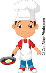 Little chef cartoo with frying pan - Vector illustration of...