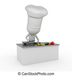 little chef - 3d rendered illustration of a little chef...