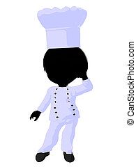 Little Chef Girl Illustration Silhouette - Little chef girl...