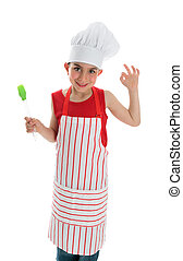 Little chef with okay hand sign