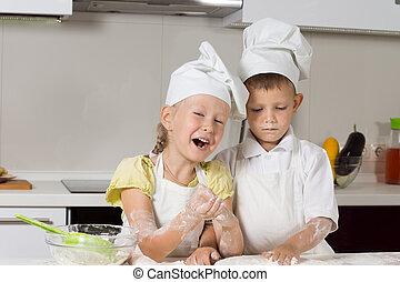 Little Chefs Baking Something in Kitchen