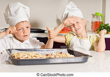 Little Chefs Tired from Baking Pizza