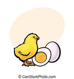Little chicken with boiled, peeled egg, whole and cut in half