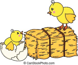 Little chicks with bale of hay - Scalable vectorial image...