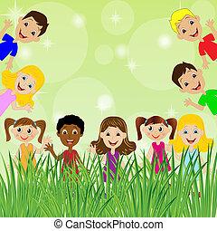 little child and background for design, vector illustration