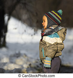 little child at winter