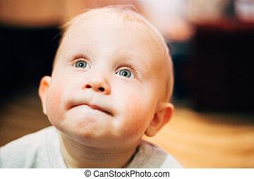 Little child baby boy Close up portrait
