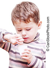 Little Child Boy Eating Dairy Smoothie