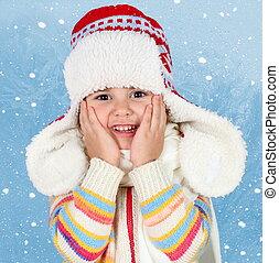 Little Child Girl in Winter Hat