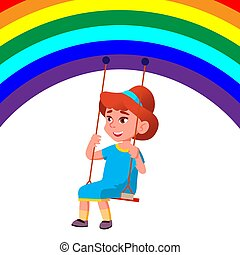 Little Child Girl Swinging On A Swing From The Rainbow Vector. Illustration