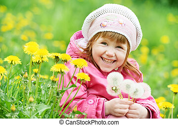 little child girl with spring dandelion - One little happy ...