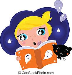 Little child has fear when reading Halloween Night Story -...
