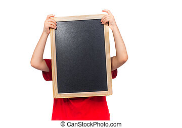 little child holding a blackboard on white background