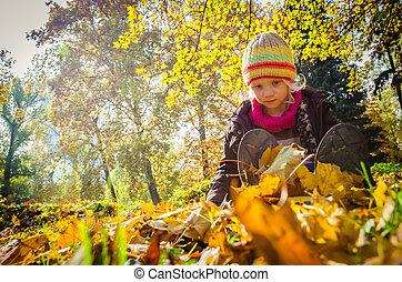 little child in autumn park