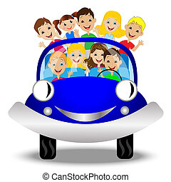 little child in blue car