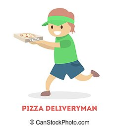 Little child in courier uniform holding pizza box
