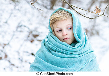 little child in scarf