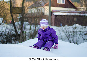little child in winter time