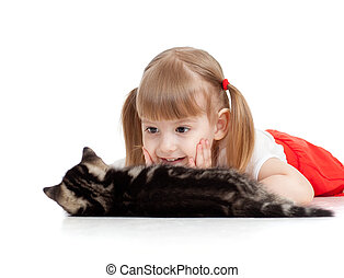 little child looking at cat on white background