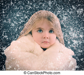 Little Child Outside with Winter Falling Snow