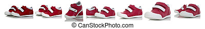 Little child red shoes isolated on white background