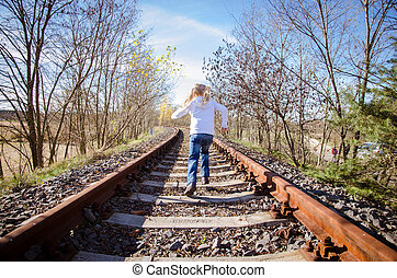 child running in railway