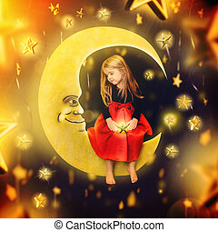 Little Child Sitting on the Moon with Stars - A little girl...