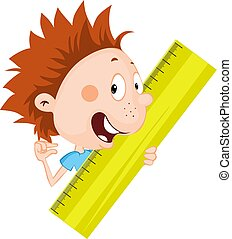 Little child, student - boy peeks out from the ruler illustration flat design isolated on white