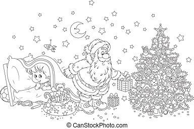 Little child watching Santa