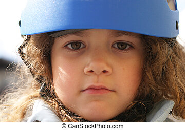 safety helmet - little child wearing a safety helmet
