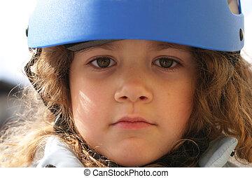 safety helmet - little child wearing a safety helmet