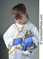 Little child who wants to be a veterinarian