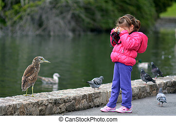 Little child with a camera photographing wildlife