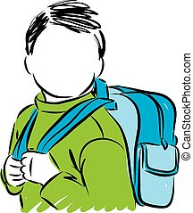 little child with backpack school concept vector illustration
