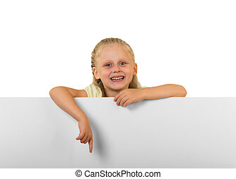 Little child with board isolated on white