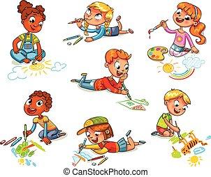 Little children draw pictures pencils and paints
