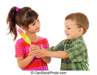 Little children sharing the color ice cream, isolated on...