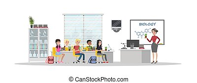Little children study biology in the school