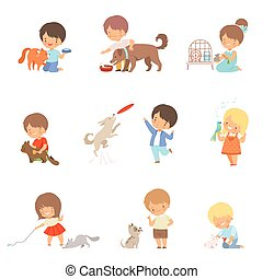 Little Children Taking Care of Domestic Animals and Playing with Them Vector Set