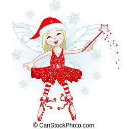 Little Christmas fairy - Cute Christmas fairy flying . All...