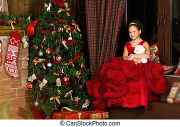 Little Christmas Princess, girl hugging plush bear