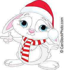 Little Christmas rabbit pointing - Little rabbit in a Santas...