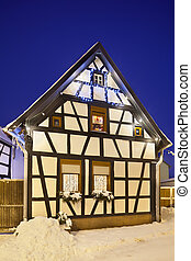 Little Christmassy House At Night, Germany - An alley with...