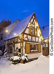 Little Christmassy House At Night With Snow - An alley with...