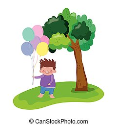 little chubby boy with balloons helium in the landscape