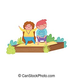 little chubby couple in the sand box