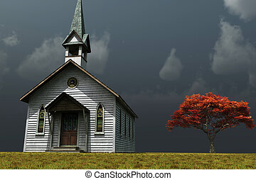 Little Church on the Prarie - Scene of an old church on a...